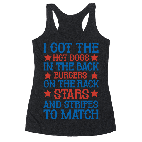 Old Town Road Fourth of July Parody White Print Racerback Tank Top