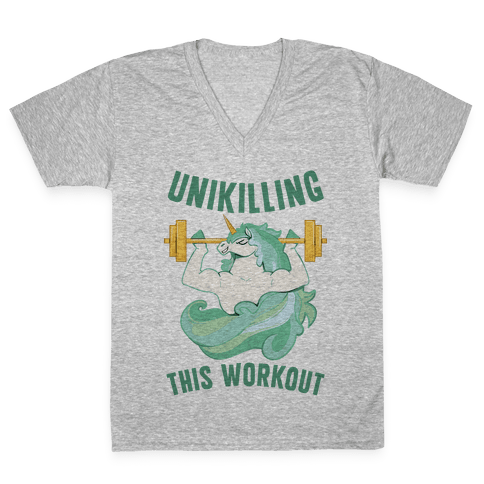 Unikilling This Workout V-Neck Tee Shirt