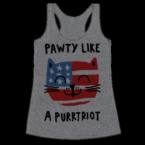 Pawty Like A Purrtriot Racerback Tank Top