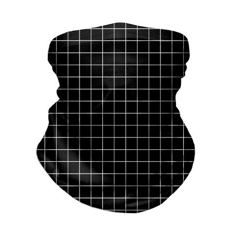 Black and White White Line Grid Design Neck Gaiter