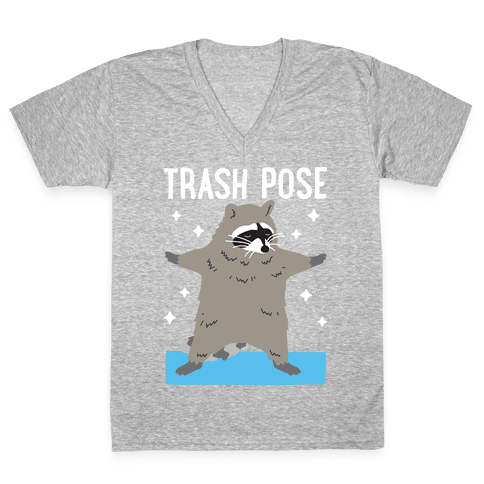 Trash Pose Raccoon V-Neck Tee Shirt