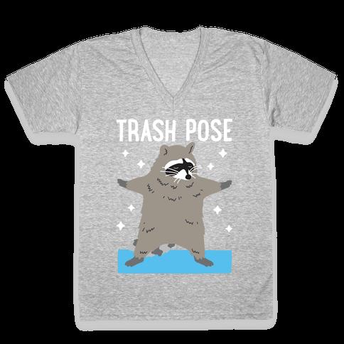 Trash Pose Raccoon V-Neck Tee Shirt