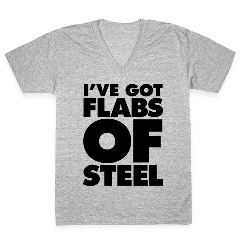 I've Got Flabs Of Steel V-Neck Tee Shirt