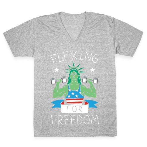 Flexing For Freedom V-Neck Tee Shirt