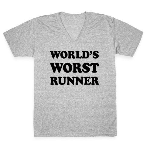 World's Worst Runner V-Neck Tee Shirt