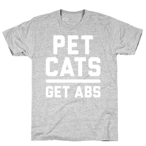 Pet Cats Get Abs (White) Mens T-Shirt