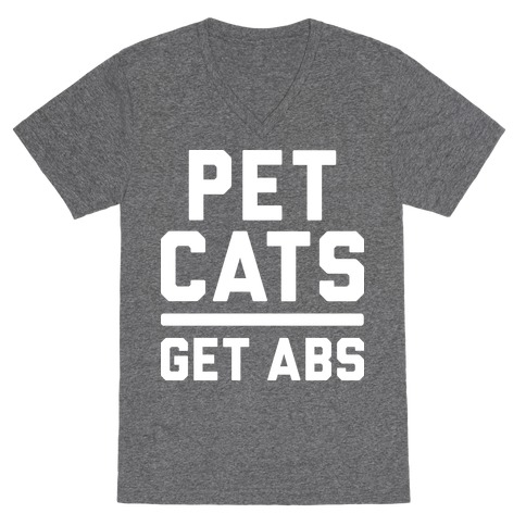 Pet Cats Get Abs (White) V-Neck Tee Shirt