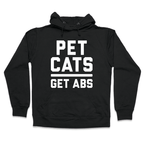 Pet Cats Get Abs (White) Hooded Sweatshirt