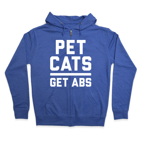 Pet Cats Get Abs (White) Zip Hoodie