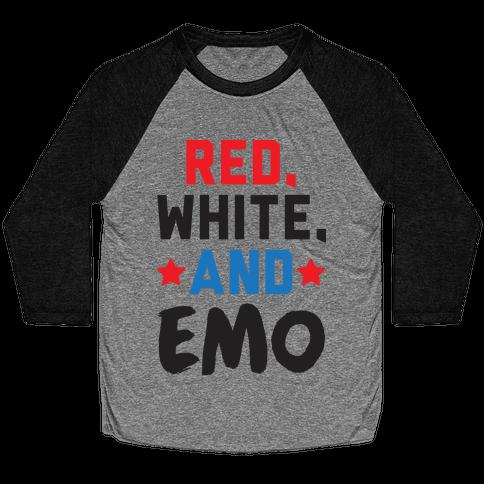 Red, White, And Emo Baseball Tee
