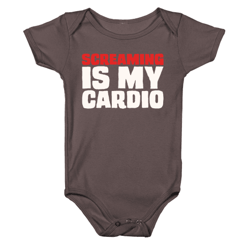 Screaming Is My Cardio White Print Baby One-Piece