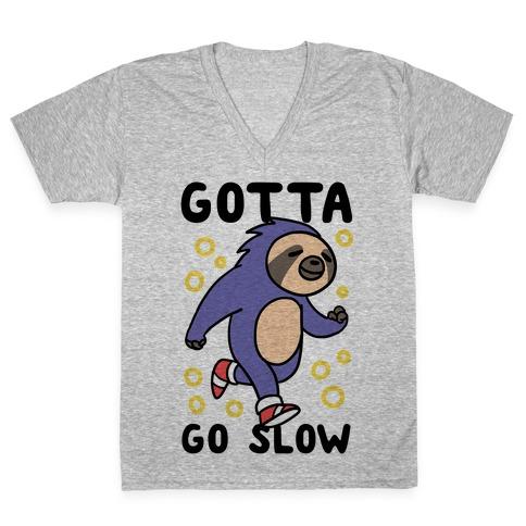 Gotta Go Slow - Sloth V-Neck Tee Shirt