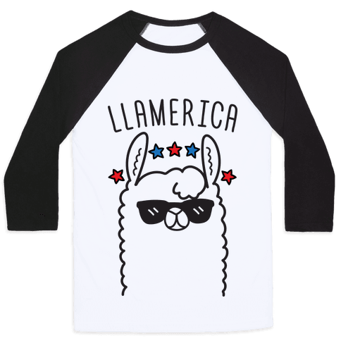 Llamerica American Llama Baseball Tee