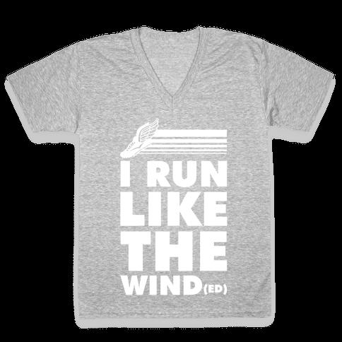 I Run Like the Winded V-Neck Tee Shirt