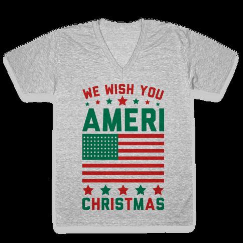 We Wish You AmeriChristmas V-Neck Tee Shirt