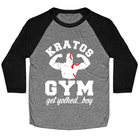 Kratos Gym Get Yolked Boy Baseball Tee