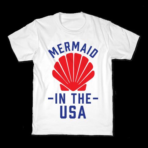 Mermaid In The USA Kids T-Shirt