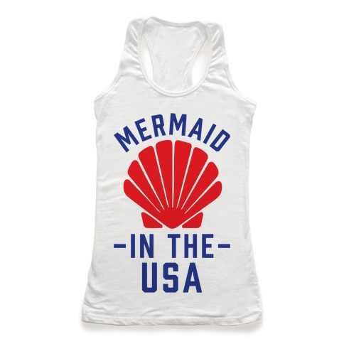 Mermaid In The USA Racerback Tank Top