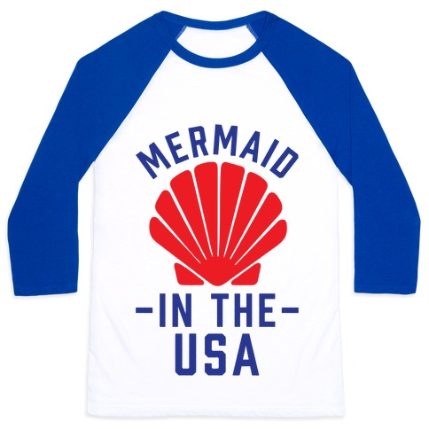Mermaid In The USA Baseball Tee