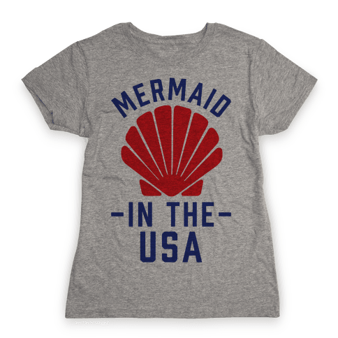 Mermaid In The USA Womens T-Shirt