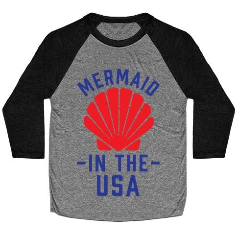Mermaid In The USA Baseball Tee