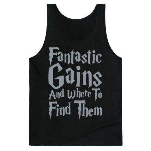 Fantastic Gains and Where To Find Them Parody White Print Tank Top