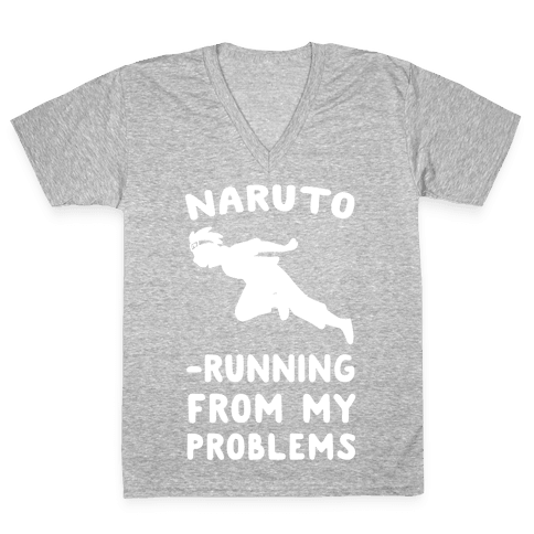 Naruto-Running From My Problems V-Neck Tee Shirt