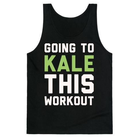 Going To Kale This Workout White Print Tank Top