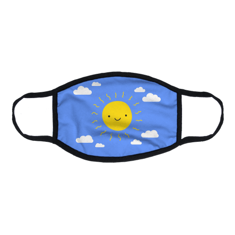 Happy Sun and Clouds Flat Face Mask