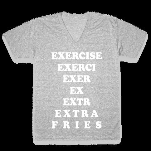 Exercise Extra Fries V-Neck Tee Shirt