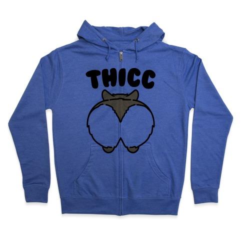 Thicc Corgi Butt Parody Zip Hoodie