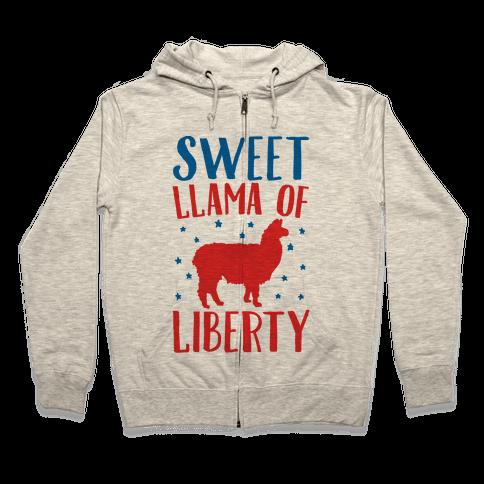 Sweet Llama of Liberty Zip Hoodie
