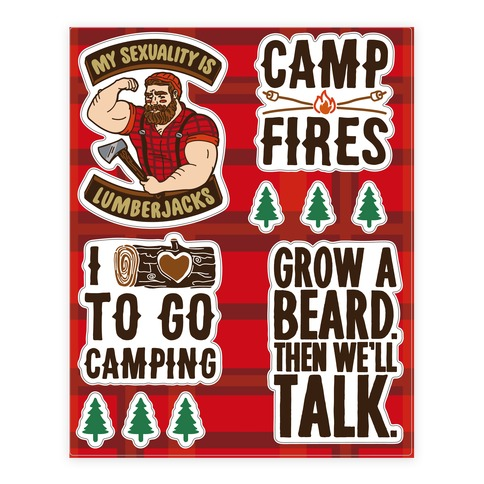 Lumberjack Camping Sticker and Decal Sheet