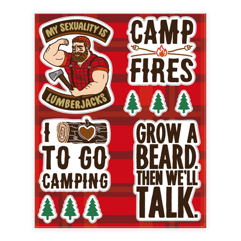 Lumberjack Camping  Sticker/Decal Sheet