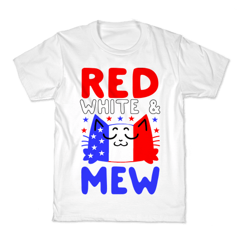 Red, White, And Mew Kids T-Shirt