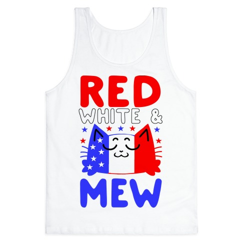 Red, White, And Mew Tank Top