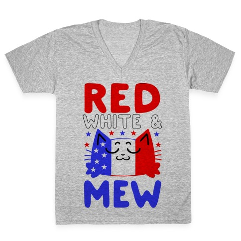 Red, White, And Mew V-Neck Tee Shirt