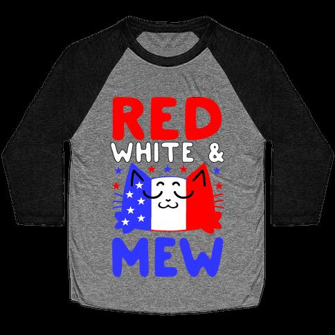 Red, White, And Mew Baseball Tee
