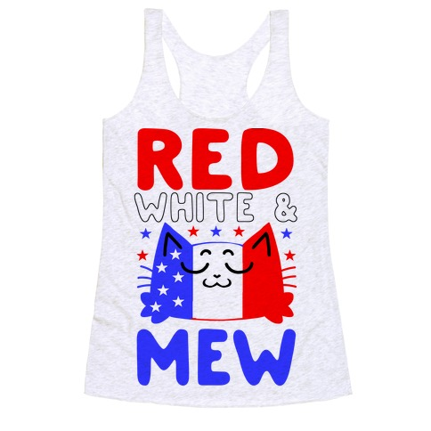 Red, White, And Mew Racerback Tank Top