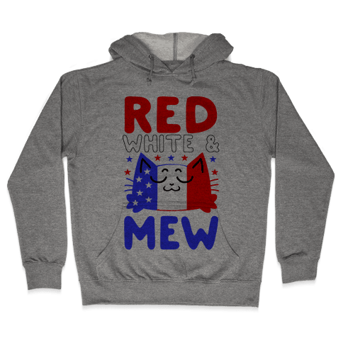 Red, White, And Mew Hooded Sweatshirt