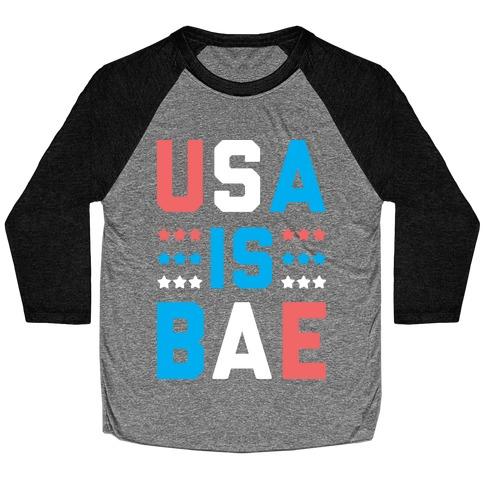 USA is BAE (White) Baseball Tee