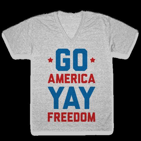 Go America Yay Freedom V-Neck Tee Shirt