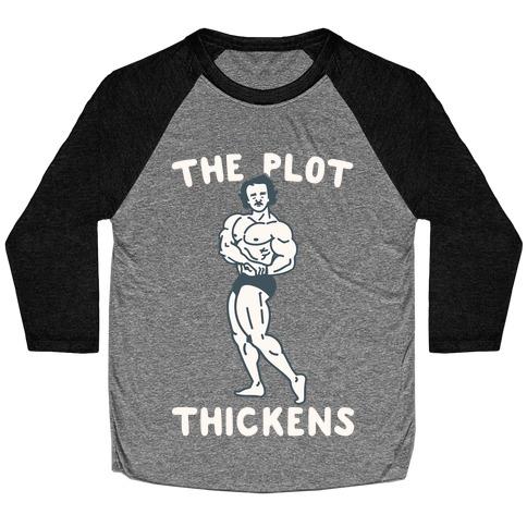 The Plot Thickens Poe Parody Baseball Tee