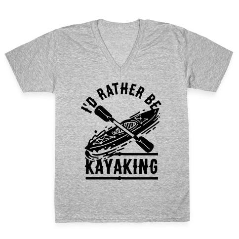 I'd Rather Be Kayaking V-Neck Tee Shirt