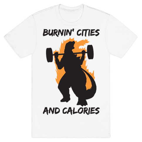 Burnin' Cities And Calories Kaiju Mens/Unisex T-Shirt