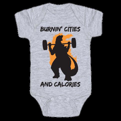 Burnin' Cities And Calories Kaiju Baby One-Piece