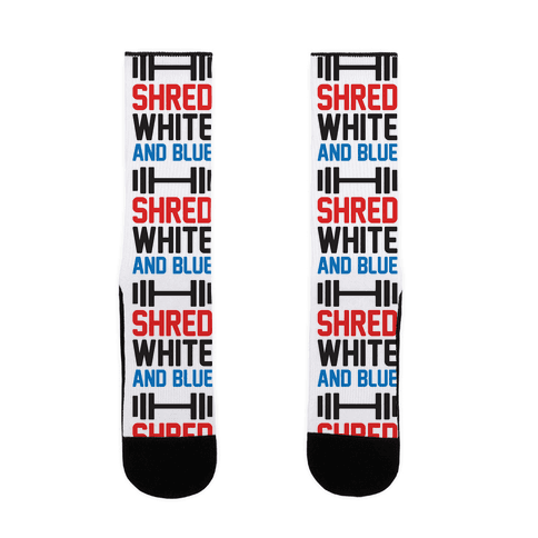 Shred White And Blue Sock