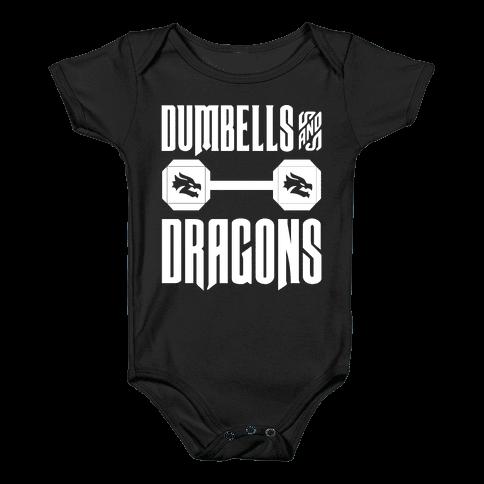 Dumbells & Dragons Parody White Print Baby Onesy
