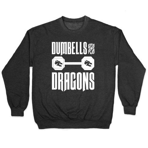 Dumbells & Dragons Parody White Print Pullover