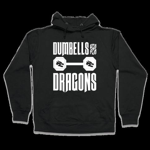Dumbells & Dragons Parody White Print Hooded Sweatshirt